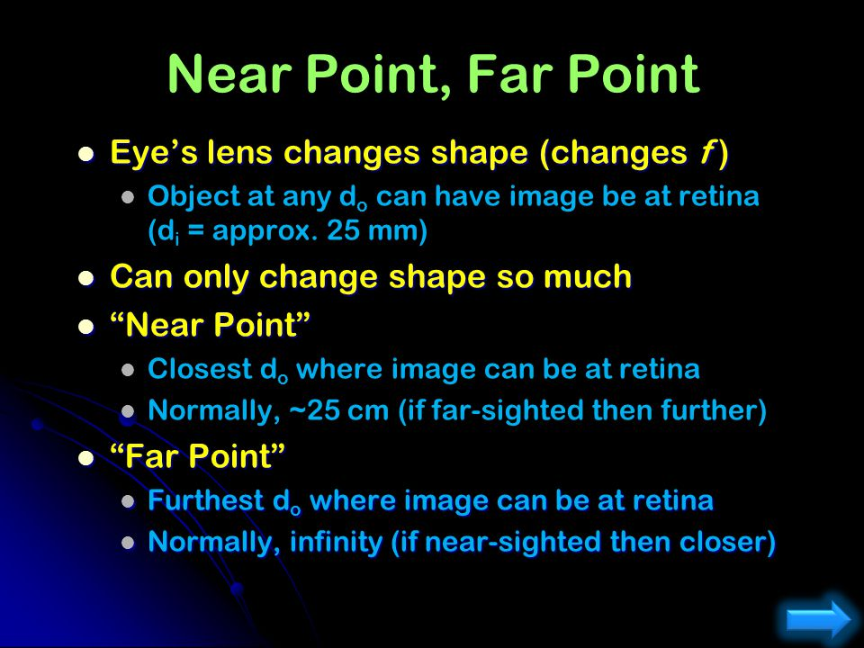 Eye (Tensed) 25 mm Determine the focal length of your eye when looking at an object up close (25 cm). 25 cm Object is up close: Want image at retina: