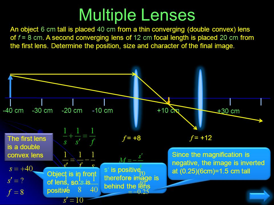 An object 6 cm tall is placed 40 cm from a thin converging (double convex) lens of f = 8 cm. A second converging lens of 12 cm focal length is placed