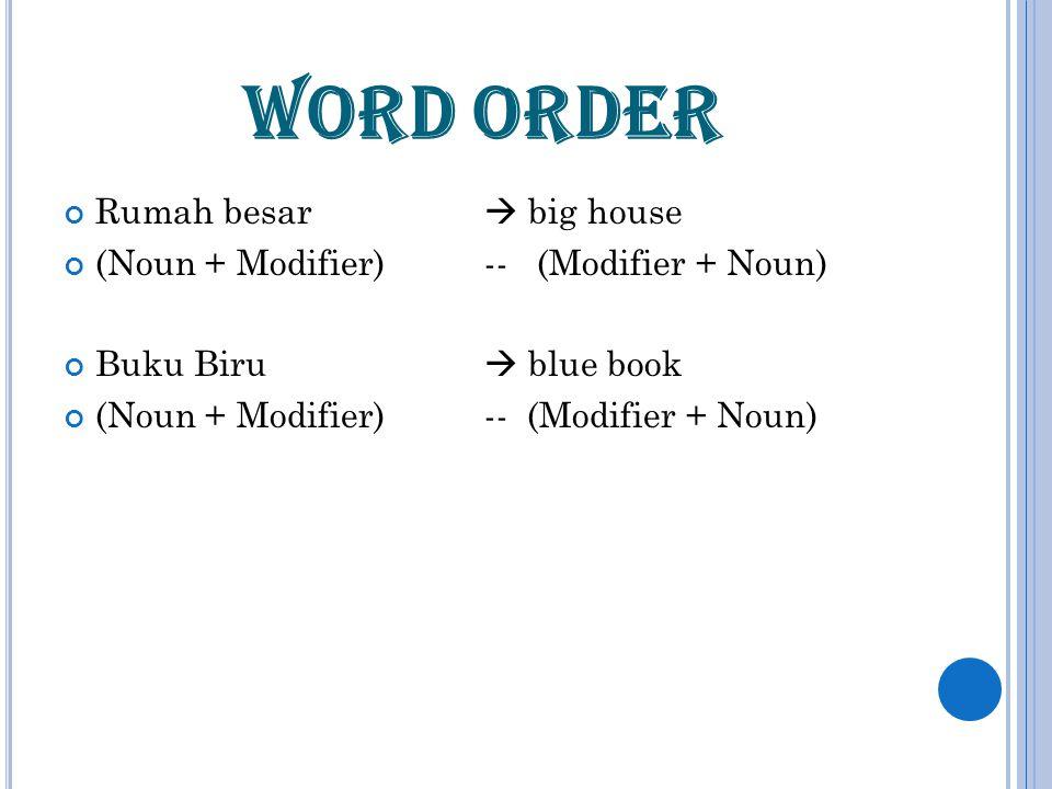 WORD ORDER Rumah besar  big house (Noun + Modifier) -- (Modifier + Noun) Buku Biru  blue book (Noun + Modifier)-- (Modifier + Noun)