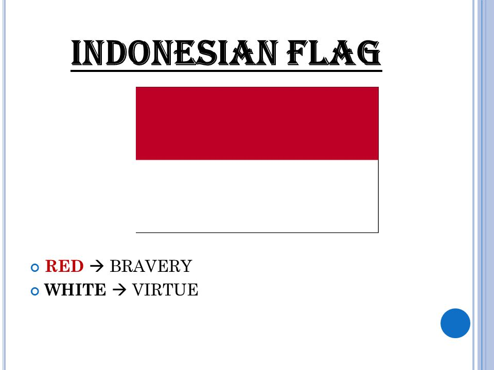 INDONESIAN FLAG RED  BRAVERY WHITE  VIRTUE