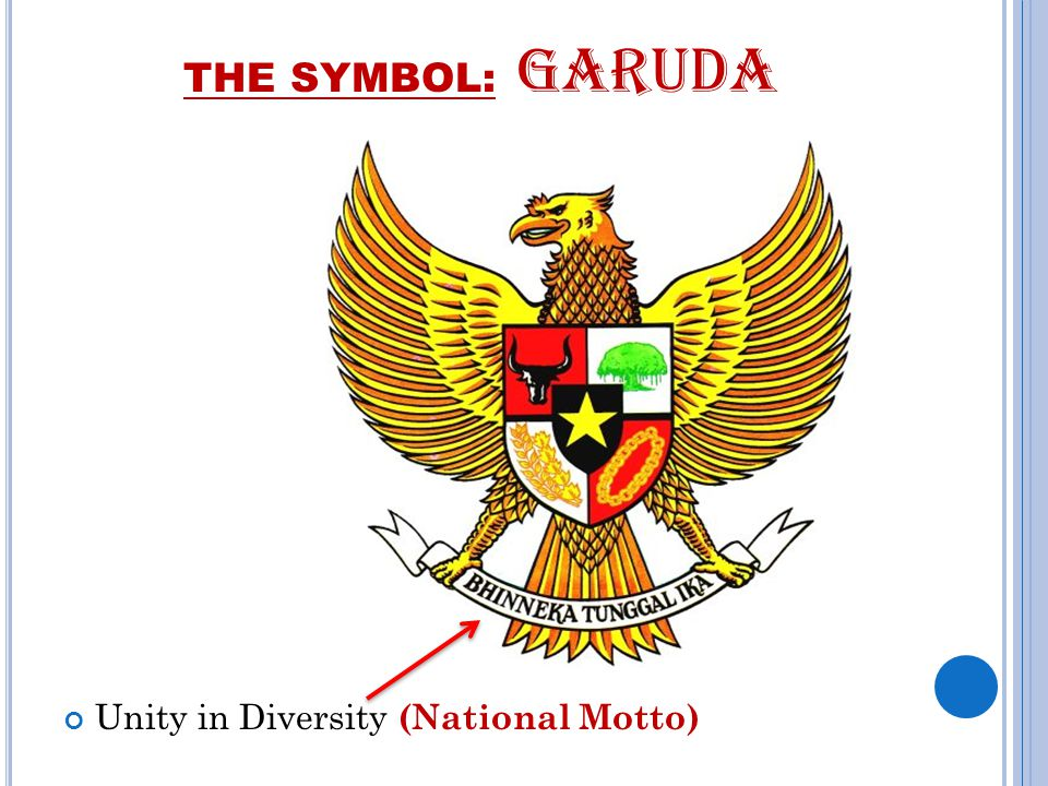 THE SYMBOL: GARUDA Unity in Diversity (National Motto)