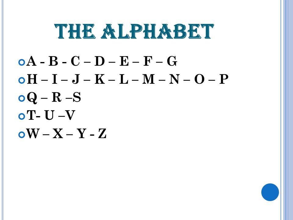 THE ALPHABET A - B - C – D – E – F – G H – I – J – K – L – M – N – O – P Q – R –S T- U –V W – X – Y - Z
