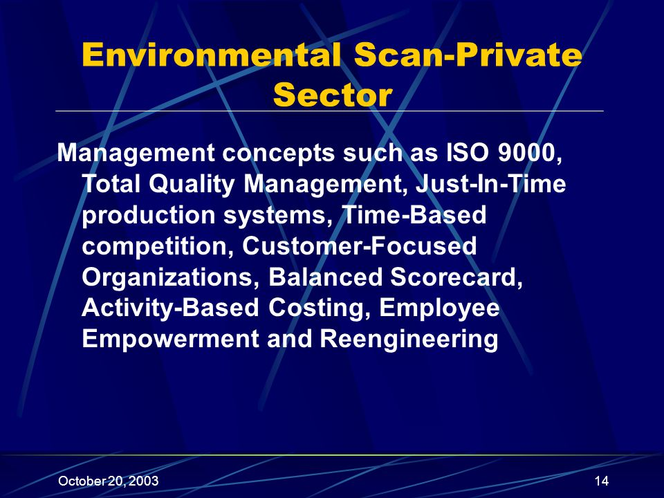 October 20, 200314 Environmental Scan-Private Sector Management concepts such as ISO 9000, Total Quality Management, Just-In-Time production systems, Time-Based competition, Customer-Focused Organizations, Balanced Scorecard, Activity-Based Costing, Employee Empowerment and Reengineering