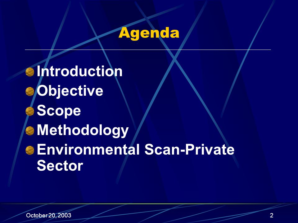 October 20, 20032 Introduction Objective Scope Methodology Environmental Scan-Private Sector Agenda