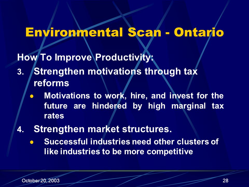 October 20, 200328 Environmental Scan - Ontario How To Improve Productivity: 3.