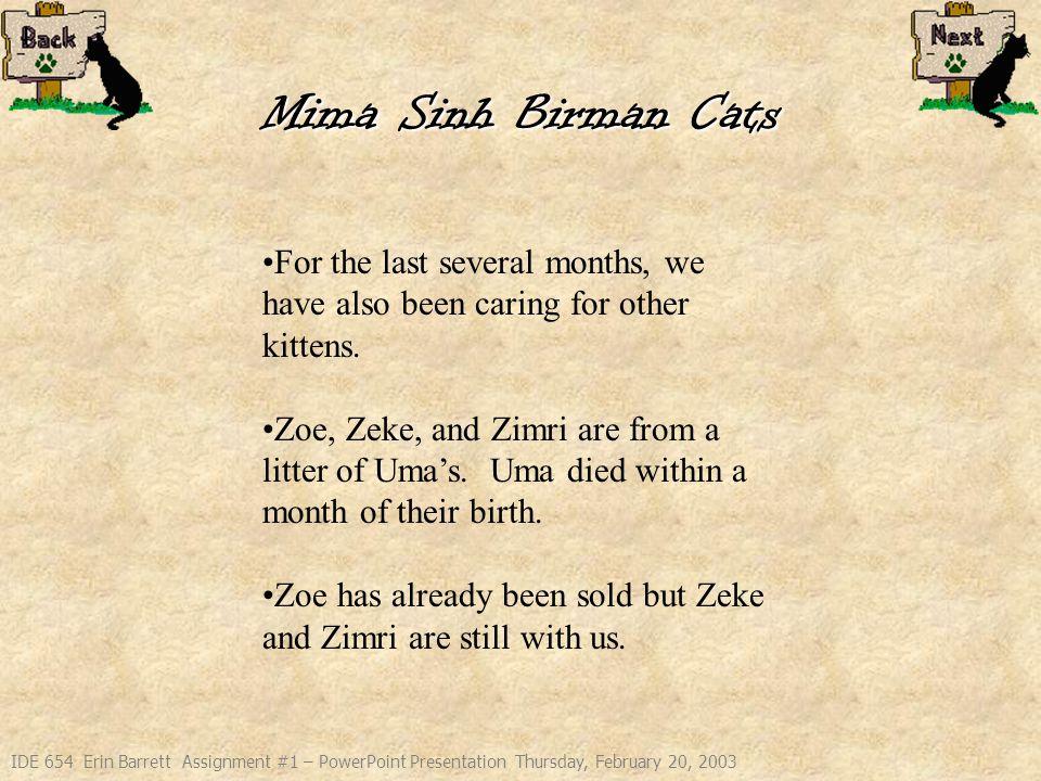 IDE 654 Erin Barrett Assignment #1 – PowerPoint Presentation Thursday, February 20, 2003 Mima Sinh Birman Cats Zeke, Zimri, and Zoe at 1 month.
