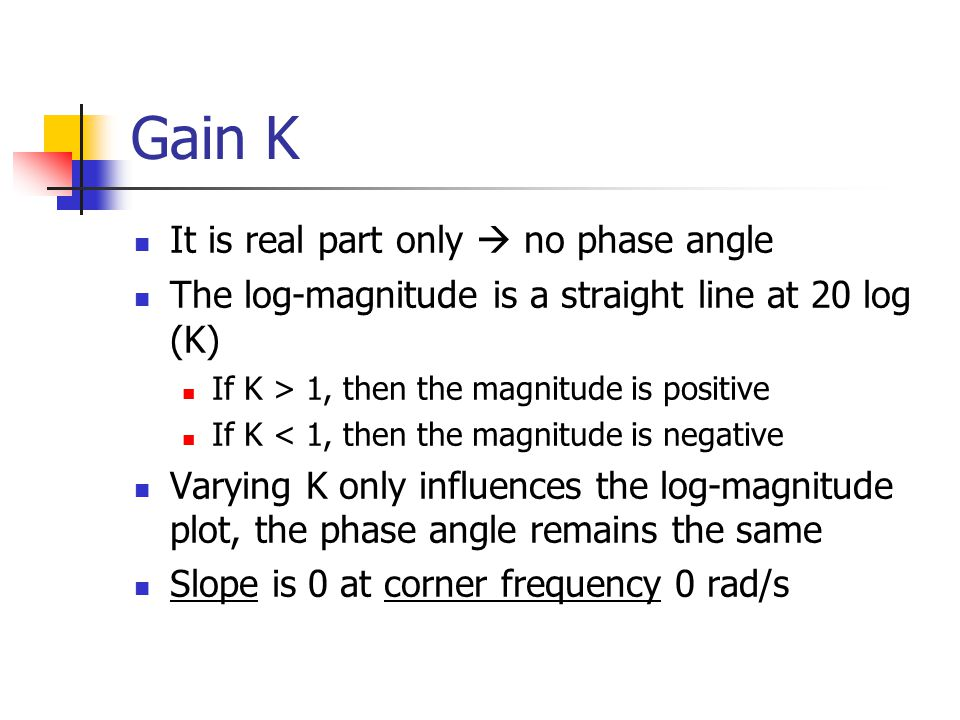 Gain K It is real part only  no phase angle The log-magnitude is a straight line at 20 log (K) If K > 1, then the magnitude is positive If K < 1, then the magnitude is negative Varying K only influences the log-magnitude plot, the phase angle remains the same Slope is 0 at corner frequency 0 rad/s