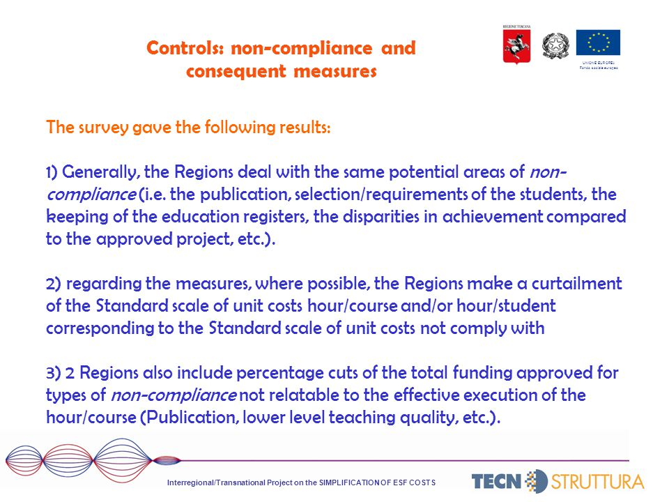 UNIONE EUROPEA Fondo sociale europeo Controls: non-compliance and consequent measures The survey gave the following results: 1) Generally, the Regions deal with the same potential areas of non- compliance (i.e.