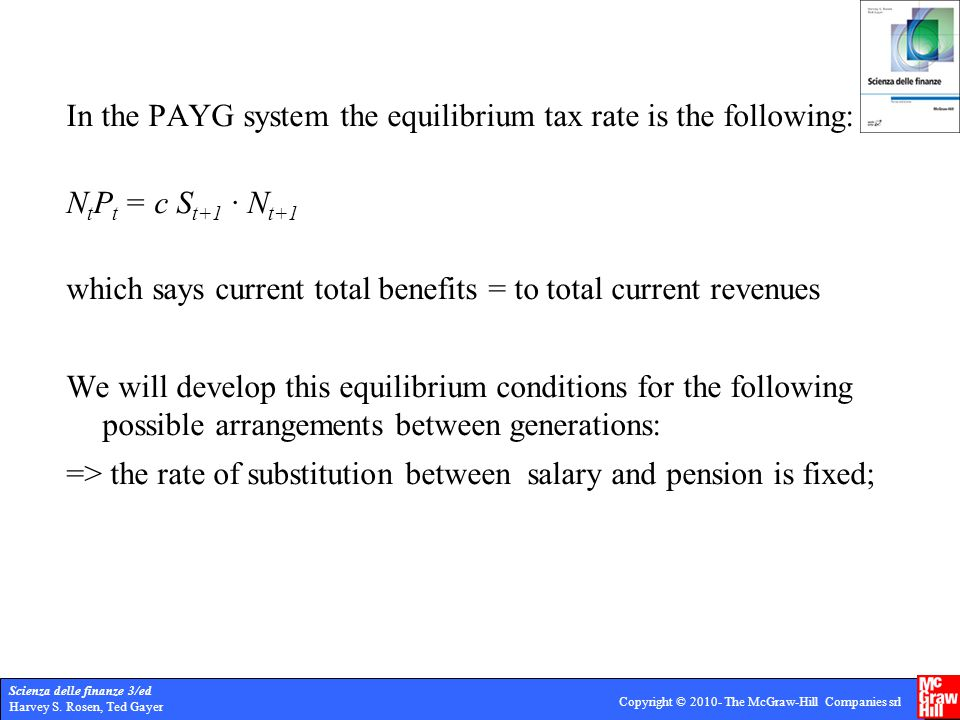 Scienza delle finanze 3/ed Harvey S. Rosen, Ted Gayer Copyright © 2010- The McGraw-Hill Companies srl In the PAYG system the equilibrium tax rate is t