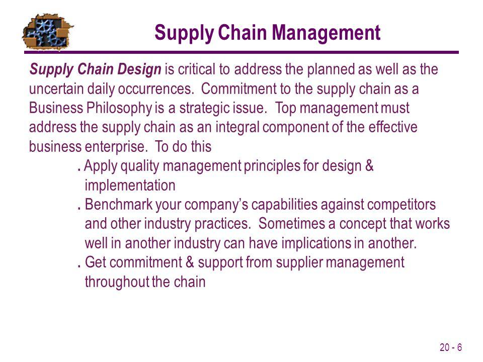 20 - 7 Customer Suppliers Manufacturer Distributor Retailer Demand Bullwhip effect - Inventory oscillations become progressively larger looking backward through the supply chain Supply Chain Inventory Effect