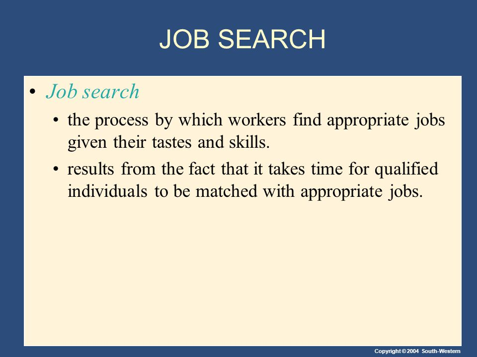 Copyright © 2004 South-Western JOB SEARCH Job search the process by which workers find appropriate jobs given their tastes and skills.