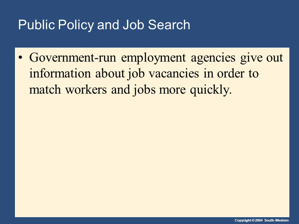Copyright © 2004 South-Western Public Policy and Job Search Government-run employment agencies give out information about job vacancies in order to match workers and jobs more quickly.