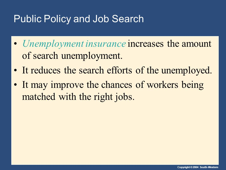 Copyright © 2004 South-Western Public Policy and Job Search Unemployment insurance increases the amount of search unemployment.