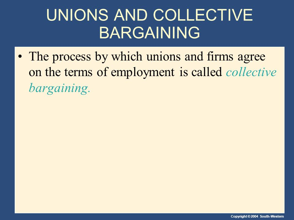 Copyright © 2004 South-Western UNIONS AND COLLECTIVE BARGAINING The process by which unions and firms agree on the terms of employment is called collective bargaining.