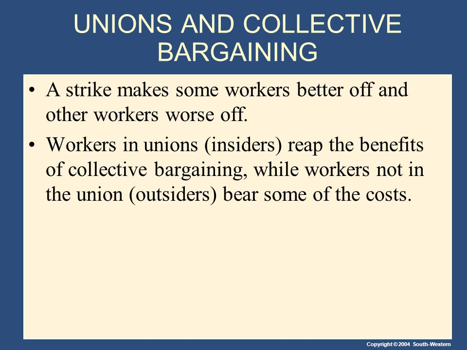 Copyright © 2004 South-Western UNIONS AND COLLECTIVE BARGAINING A strike makes some workers better off and other workers worse off.