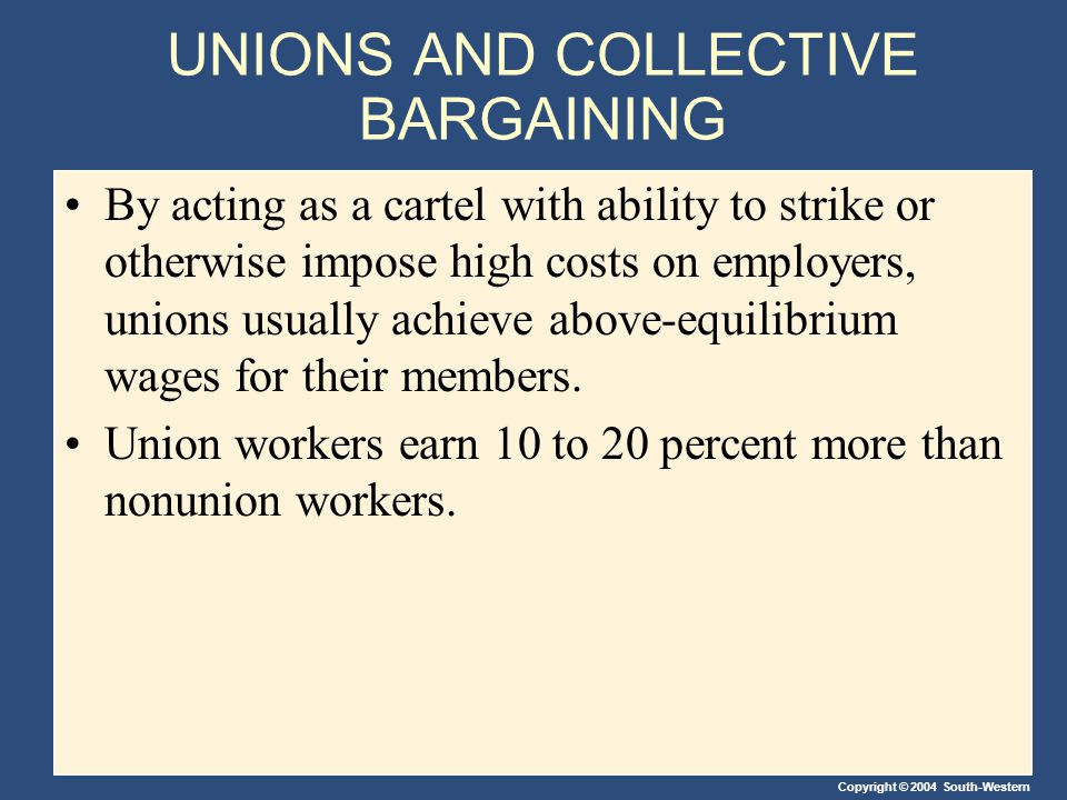 Copyright © 2004 South-Western UNIONS AND COLLECTIVE BARGAINING By acting as a cartel with ability to strike or otherwise impose high costs on employers, unions usually achieve above-equilibrium wages for their members.