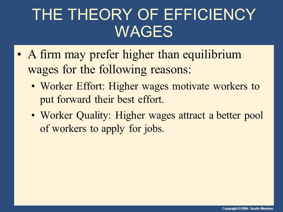 Copyright © 2004 South-Western THE THEORY OF EFFICIENCY WAGES A firm may prefer higher than equilibrium wages for the following reasons: Worker Effort: Higher wages motivate workers to put forward their best effort.