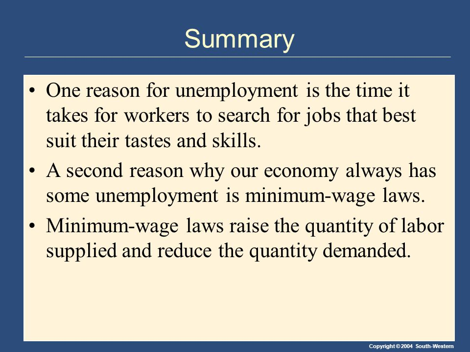 Copyright © 2004 South-Western Summary One reason for unemployment is the time it takes for workers to search for jobs that best suit their tastes and skills.