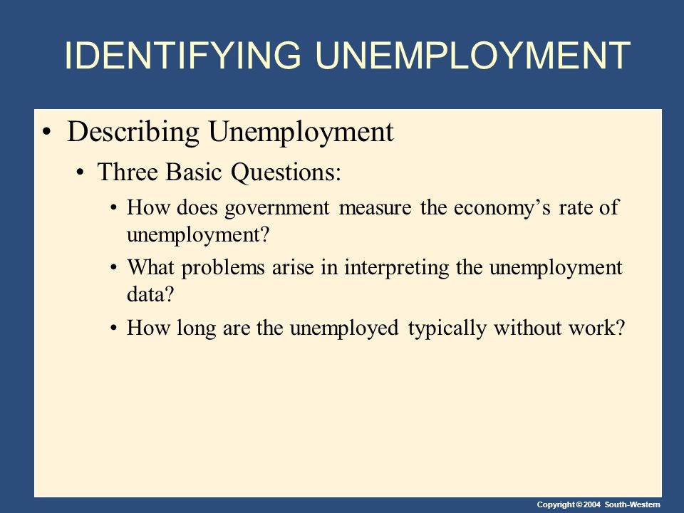 Copyright © 2004 South-Western IDENTIFYING UNEMPLOYMENT Describing Unemployment Three Basic Questions: How does government measure the economy's rate of unemployment.