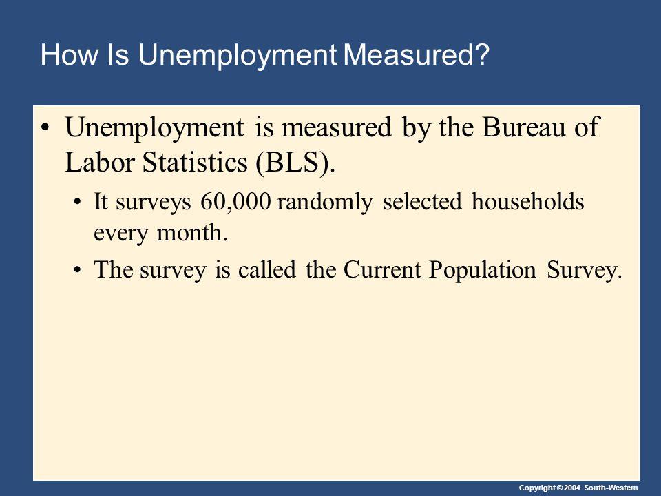 Copyright © 2004 South-Western How Is Unemployment Measured? Unemployment is measured by the Bureau of Labor Statistics (BLS). It surveys 60,000 rando