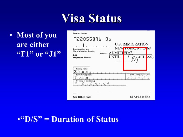 Visa Status Most of you are either F1 or J1 D/S = Duration of Status