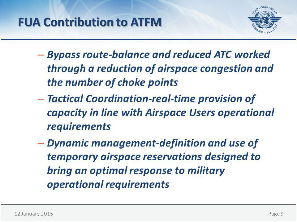 12 January 2015Page 10 Civil/Military Coordination BUILD TRUST -Minimize the Operation Constrains RELEASE IN TIME -Maximize the Airspace Utilization GIVE THE PRIORITY -Provide extra capacity in case of bad weather