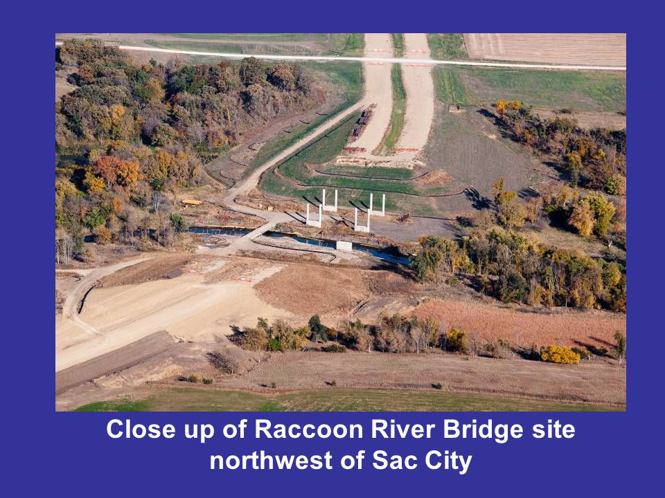 Close up of Raccoon River Bridge site northwest of Sac City