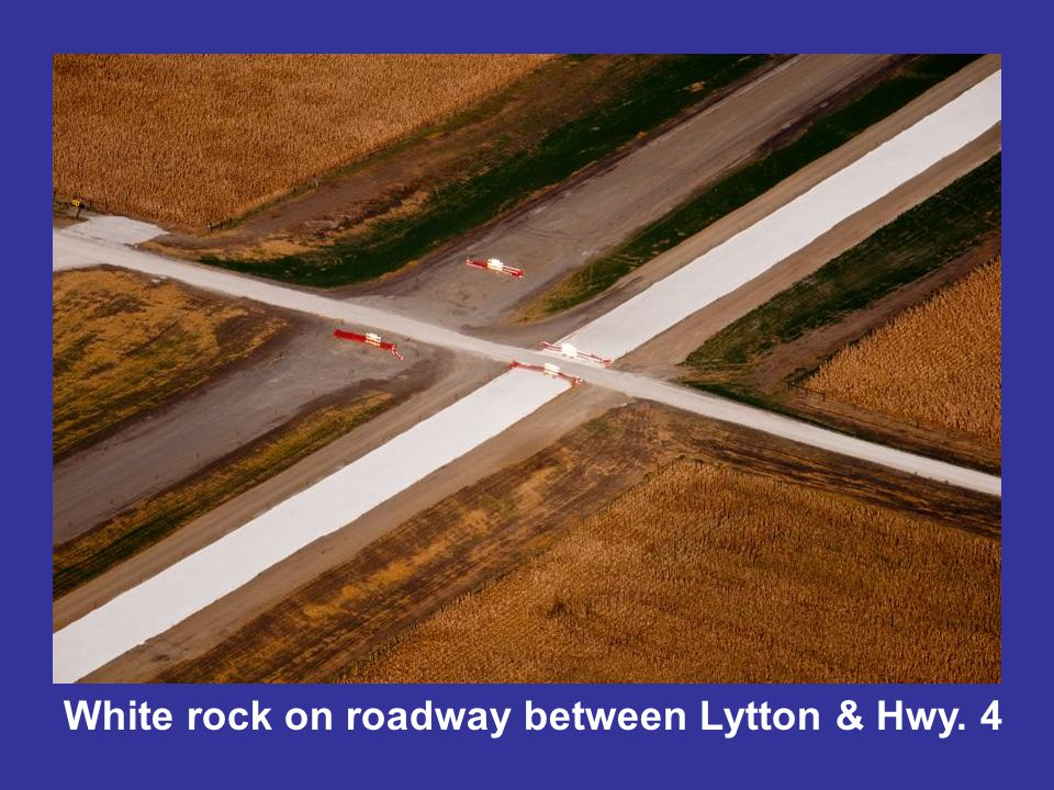 White rock on roadway between Lytton & Hwy. 4