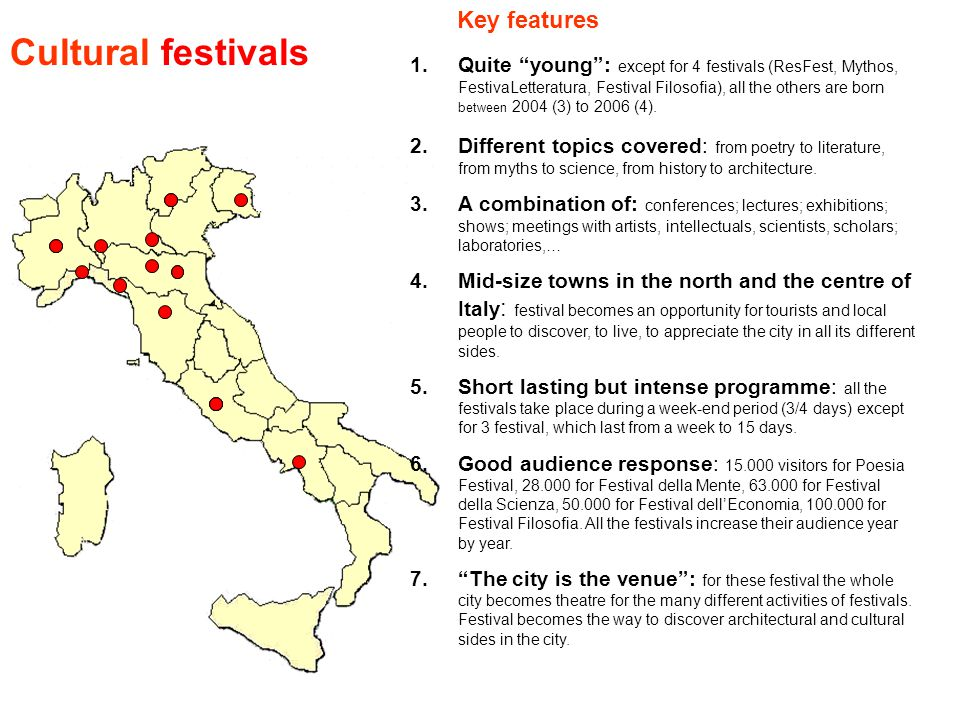 Cultural festivals Key features 1.Quite young : except for 4 festivals (ResFest, Mythos, FestivaLetteratura, Festival Filosofia), all the others are born between 2004 (3) to 2006 (4).