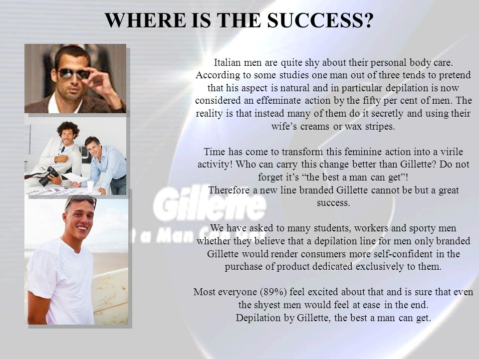 WHERE IS THE SUCCESS.Italian men are quite shy about their personal body care.