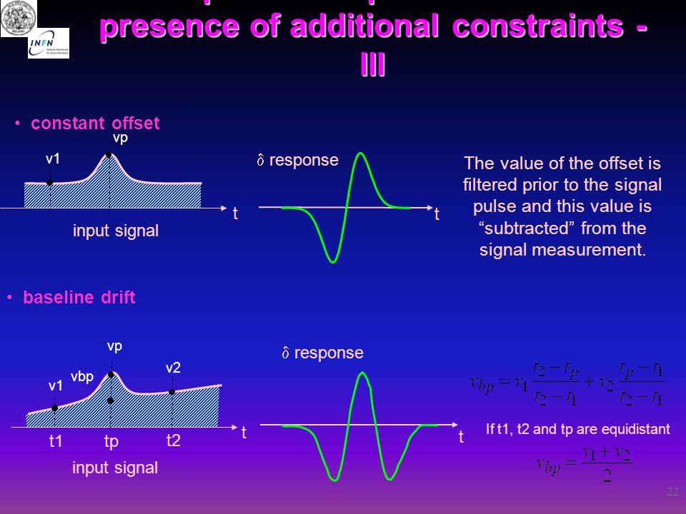 "22 constant offset baseline drift t t input signal  response The value of the offset is filtered prior to the signal pulse and this value is ""subtrac"