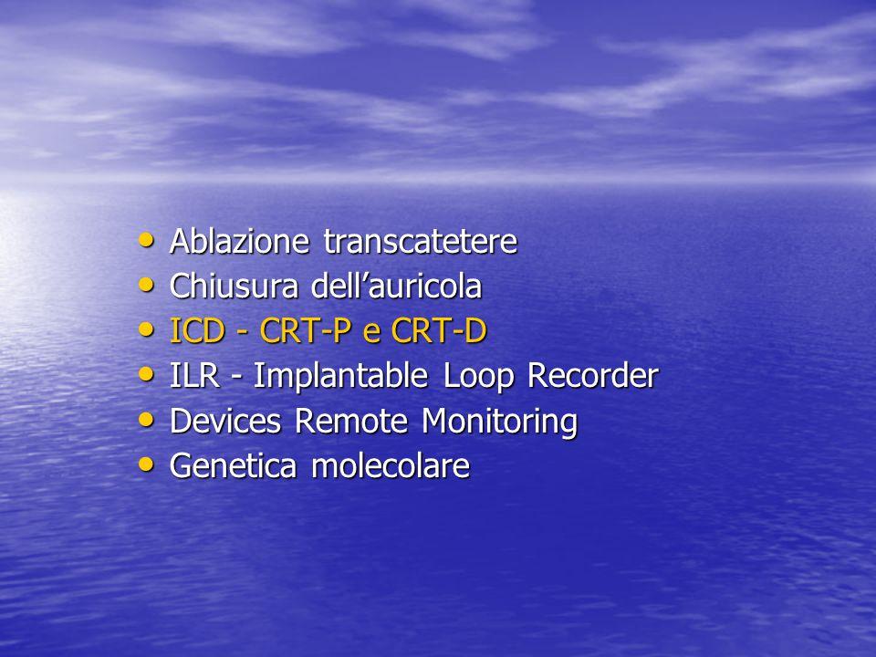 Ablazione transcatetere Ablazione transcatetere Chiusura dell'auricola Chiusura dell'auricola ICD - CRT-P e CRT-D ICD - CRT-P e CRT-D ILR - Implantable Loop Recorder ILR - Implantable Loop Recorder Devices Remote Monitoring Devices Remote Monitoring Genetica molecolare Genetica molecolare