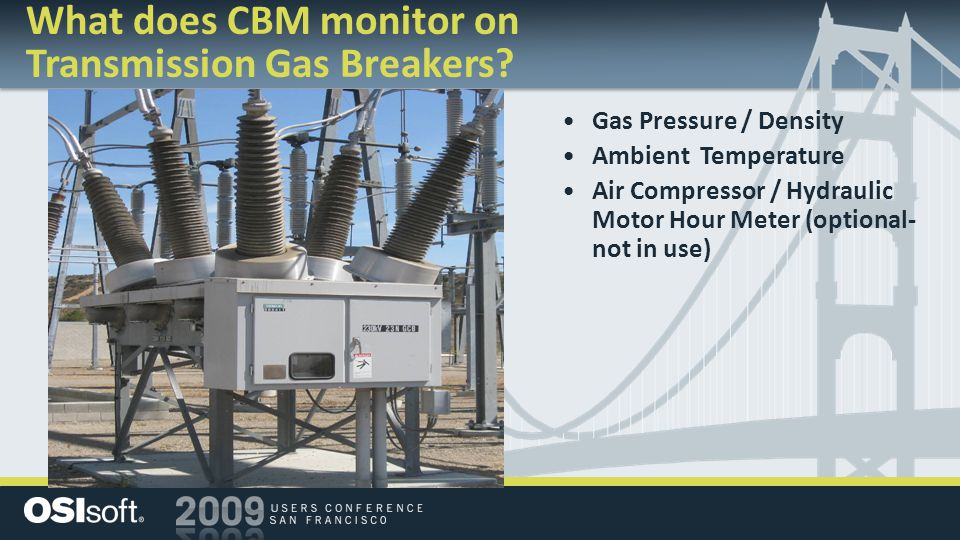What does CBM monitor on Transmission Gas Breakers? Gas Pressure / Density Ambient Temperature Air Compressor / Hydraulic Motor Hour Meter (optional-