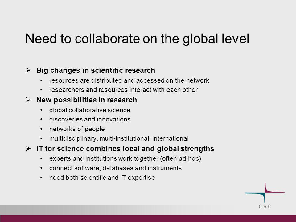 Need to collaborate on the global level  Big changes in scientific research resources are distributed and accessed on the network researchers and res