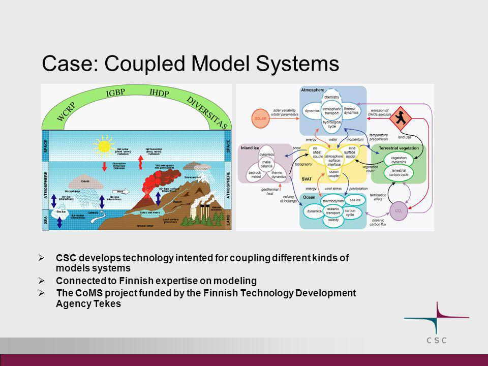 Case: Coupled Model Systems  CSC develops technology intented for coupling different kinds of models systems  Connected to Finnish expertise on mode