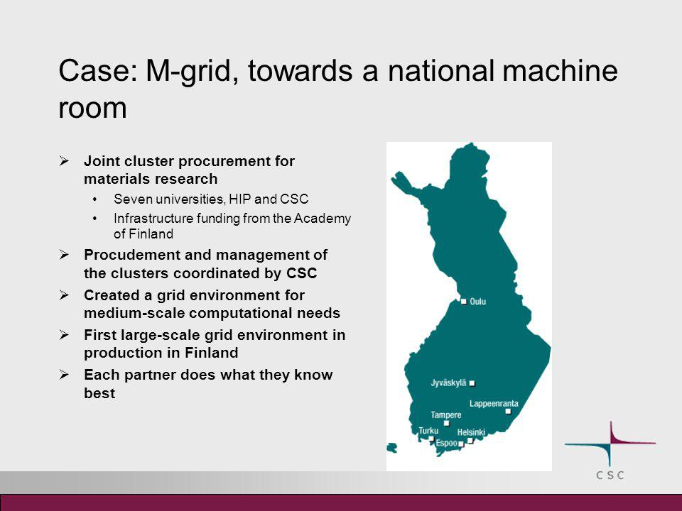Case: M-grid, towards a national machine room  Joint cluster procurement for materials research Seven universities, HIP and CSC Infrastructure fundin
