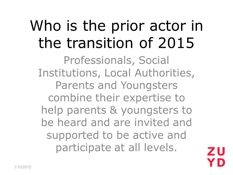Who is the prior actor in the transition of 2015 Professionals, Social Institutions, Local Authorities, Parents and Youngsters combine their expertise to help parents & youngsters to be heard and are invited and supported to be active and participate at all levels.