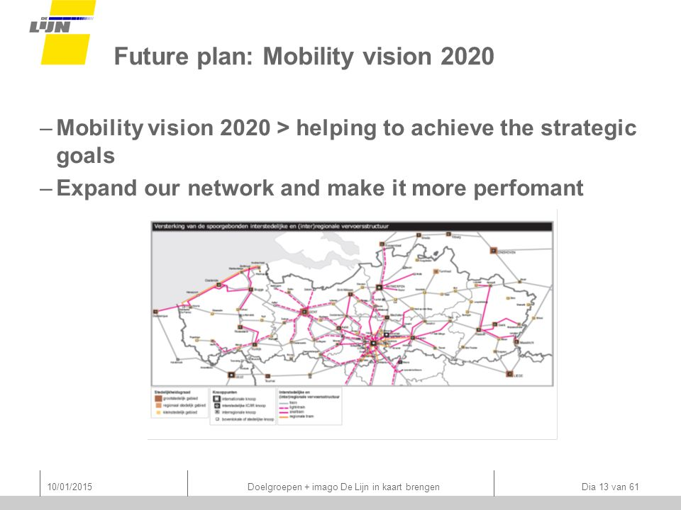 Future plan: Mobility vision 2020 –Mobility vision 2020 > helping to achieve the strategic goals –Expand our network and make it more perfomant 10/01/2015 Doelgroepen + imago De Lijn in kaart brengen Dia 13 van 61