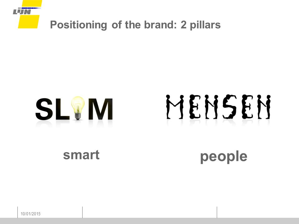 10/01/2015 Positioning of the brand: 2 pillars smart people