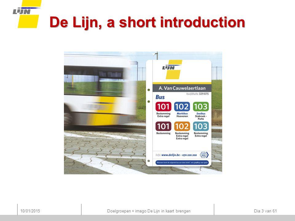 De Lijn, a short introduction 10/01/2015 Doelgroepen + imago De Lijn in kaart brengen Dia 3 van 61