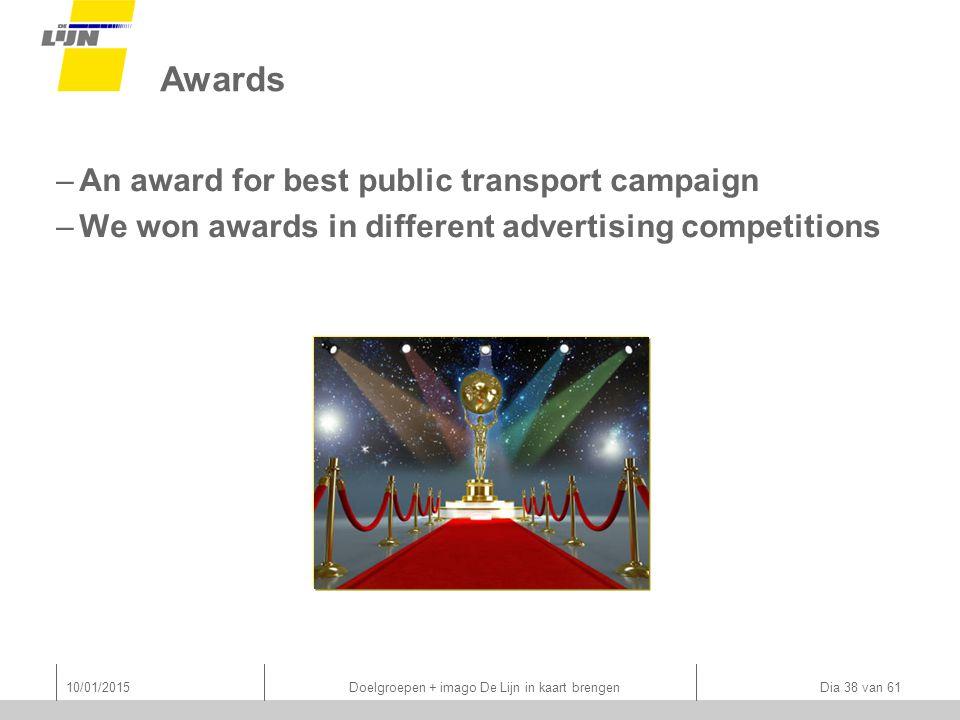 Awards –An award for best public transport campaign –We won awards in different advertising competitions 10/01/2015 Doelgroepen + imago De Lijn in kaart brengen Dia 38 van 61