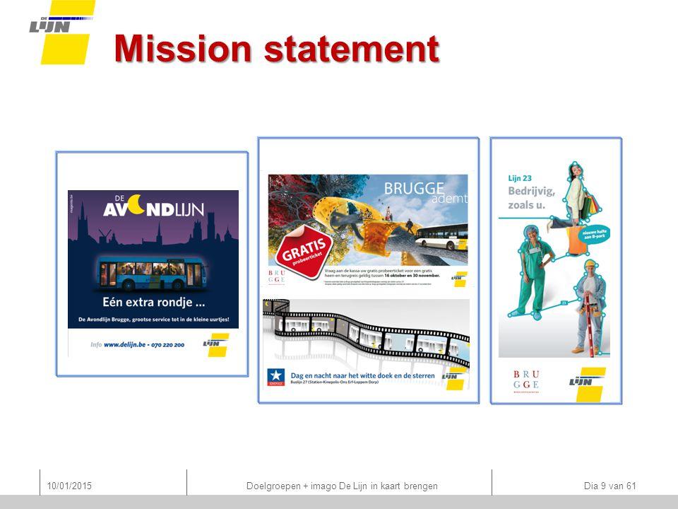 Mission statement 10/01/2015 Doelgroepen + imago De Lijn in kaart brengen Dia 9 van 61