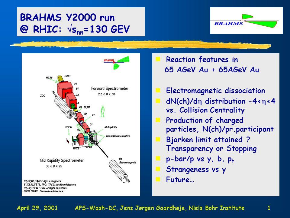 April 29, 2001APS-Wash-DC, Jens Jørgen Gaardhøje, Niels Bohr Institute1 nReaction features in 65 AGeV Au + 65AGeV Au nElectromagnetic dissociation ndN(ch)/d  distribution -4<  <4 vs.