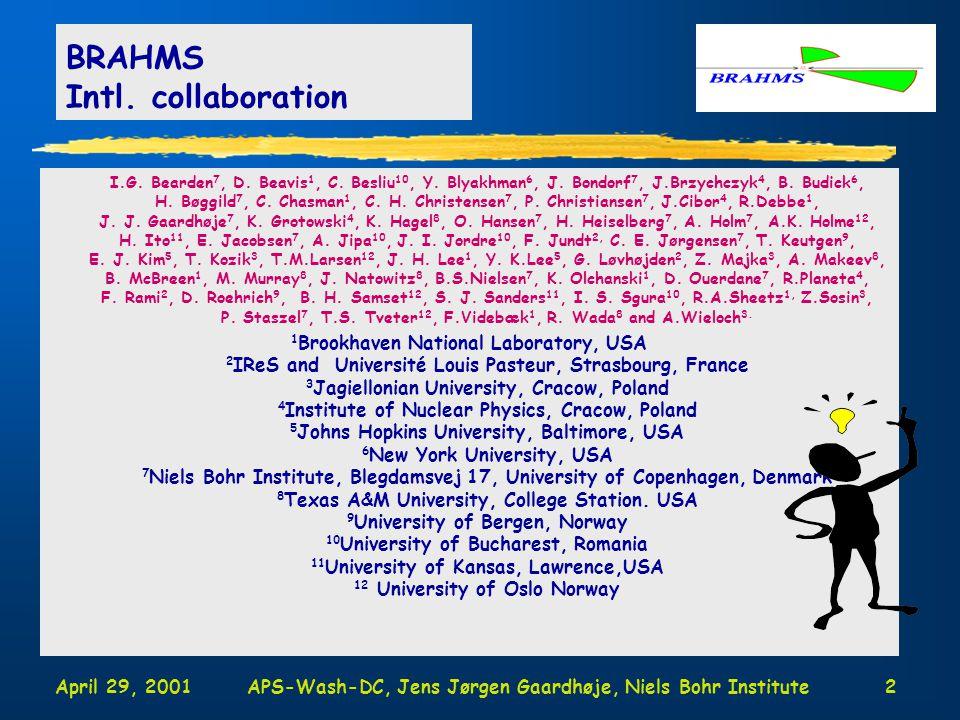 April 29, 2001APS-Wash-DC, Jens Jørgen Gaardhøje, Niels Bohr Institute2 I.G.