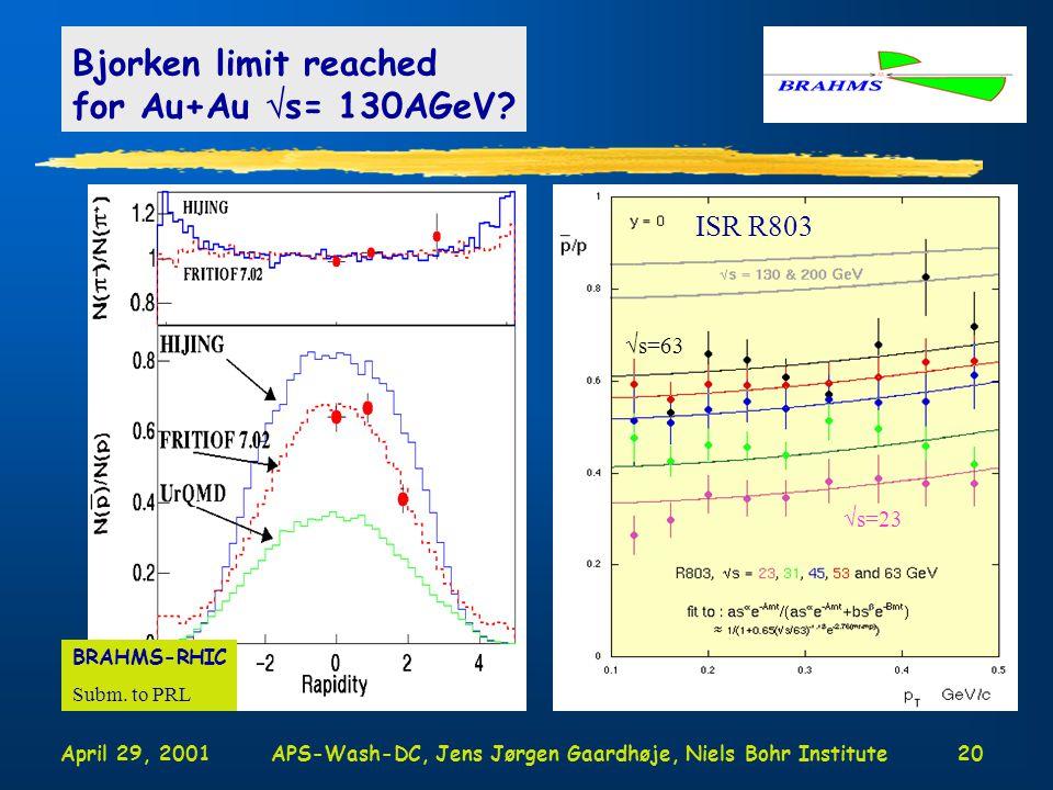 April 29, 2001APS-Wash-DC, Jens Jørgen Gaardhøje, Niels Bohr Institute20 Bjorken limit reached for Au+Au  s= 130AGeV.