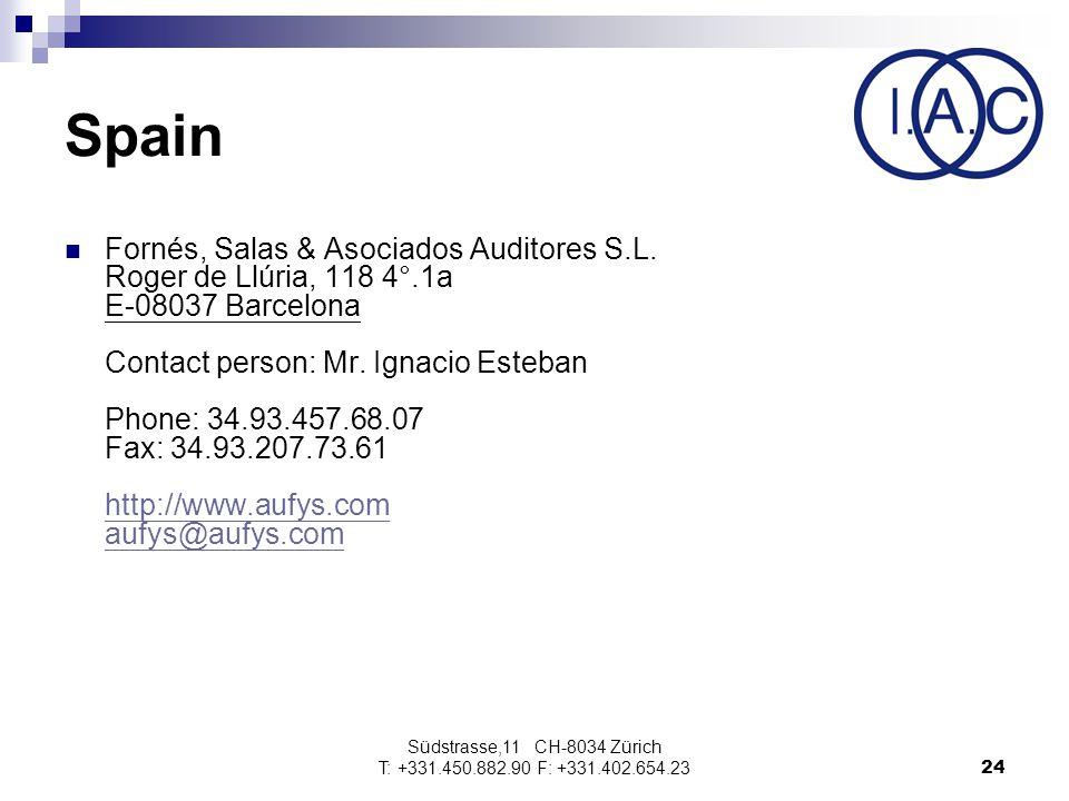 Südstrasse,11 CH-8034 Zürich T: +331.450.882.90 F: +331.402.654.2324 Spain Fornés, Salas & Asociados Auditores S.L.