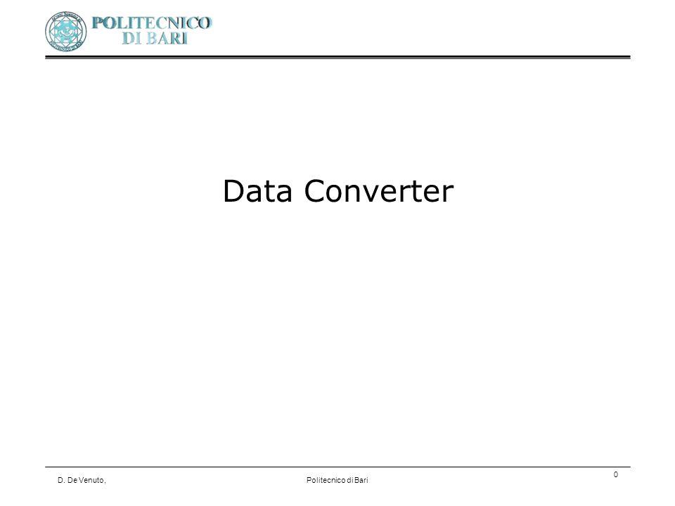 D. De Venuto,Politecnico di Bari 0 Data Converter