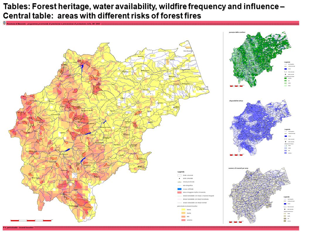 Tables: Forest heritage, water availability, wildfire frequency and influence – Central table: areas with different risks of forest fires