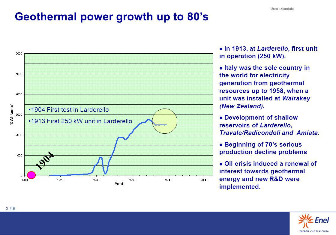 3 /16 Uso: aziendale Geothermal power growth up to 80's In 1913, at Larderello, first unit in operation (250 kW). Italy was the sole country in the wo