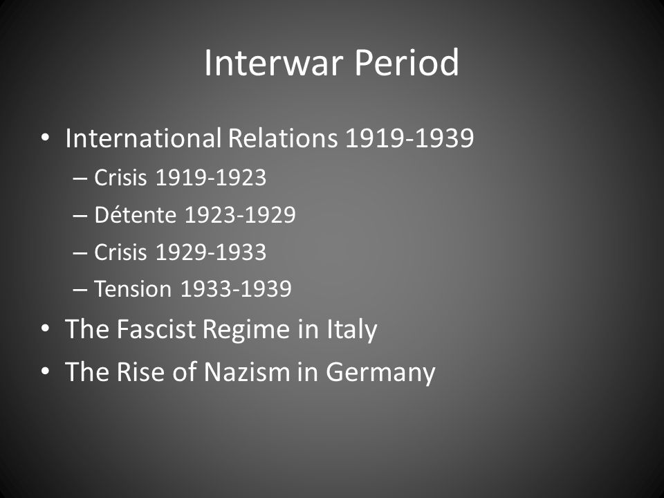 International Relations 1919-39 The League of Nations Rapallo: Alliance of the Outcasts The Ruhr Crisis US Financial Interventions: Dawes and Young Locarno The Failure of Disarmament German Revisionism - Allied Appeasement